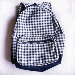 LeSportsac Big Backpack White Blue Gingham EUC